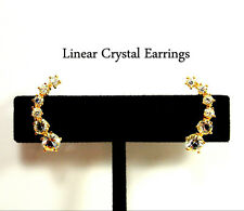 Dainty Small Chic Gold Crystal Linear Lobe Curve Post Earrings