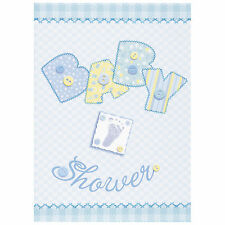 8 Baby Blue Stitching Baby Shower Party Invite Invitations Plus Envelopes