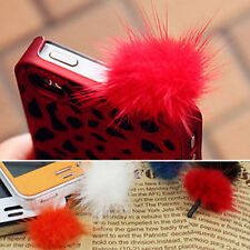 New Rabbit Fur Ball Earphone Ear Cap Anti Dust Plug Cover 3.5mm For Cell Phone