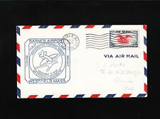 Barnes Airport 1st Air Mail Service Westfield MA Neward NJ 1938 Cover Ð