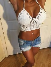Festival Style Boho White Crochet Crop Lined Bikini Halter Top One Size Or OS