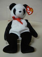 Ty Beanie Baby FORTUNE Plush Black and White Panda Bear with Red Ribbon
