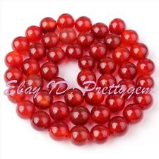 8mm Round Shape Smooth Orange Red Agate Onyx Gemstone Spacer Beads Strand 15""