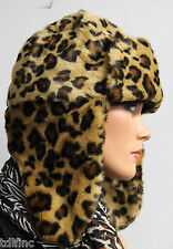 *NWT Nine West Faux Fur Leopard Trapper  Hat $38 NEW DD072