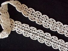 """10 YARDS of 1"""" Wide Braided Gimp Lace Fringe SCA Trim in  Natural Cotton"""
