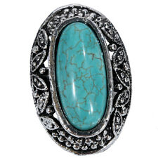 Simple High Quality Oval Shape Turquoise Tibetan Silver Carved Adjustable Ring