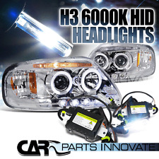 97-02 Expedition F150 Chrome Halo LED Projector Headlights+H3 6000K HID Kit
