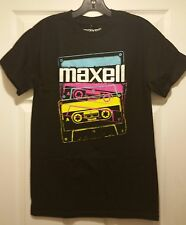 New Maxell Cassette Tape Neon Logo Adult Small Retro 80s DJ Mixed Rock T-shirt