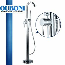 US Clawfoot Chrome Floor Install Bath Tub Filler Faucet Handshower Free Standing