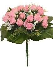 Mini Rose Bush ~ PINK ~ 21 Roses ~ Silk Wedding Flowers Bouquets Centerpieces