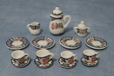 Doll house miniature China TEA SET  blue and pink -dining room-kitchen-SALE 1:12