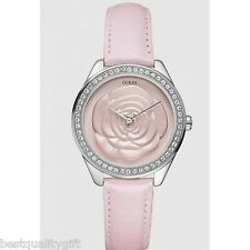 NEW-GUESS PINK LEATHER STRAP WITH CRYSTALS AND 3D ROSE DIAL WATCH-U75042L2