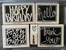 Stampin' Up VIVID GREETINGS Set 6 Wood Mounted Rubber Stamp Lot Birthday Friend
