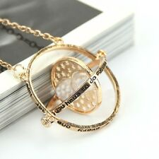 Harry Potter Time Turner Necklace Hermione Granger Rotating Spins Hourglass Gold