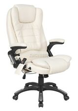 FoxHunter Cream Luxury Leather 6 Point Massage Office Computer Chair Reclining