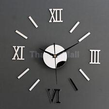DIY Mirror 3D Roman Numbers Wall Clock Decal Home Decor Art Mural Stickers