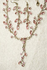 vintage style jewelry set pink matching crystal necklace earrings silver tone