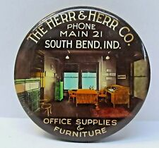 c.1915 HERR & HERR OFFICE FURNITURE South Bend IN paperweight pocket mirror *