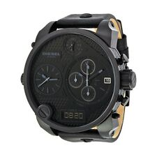 Diesel DZ7193 Oversized Mr. Daddy SBA ALL Black Leather. Case = 56MM BRAND NEW