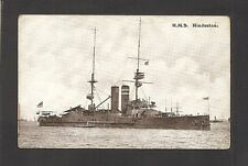POSTCARD:  H.M.S. HINDUSTAN - BRITISH NAVY WORLD WAR 1 BATTLESHIP