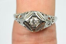 Art Nouveau Handcrafted Artisan 18k White Gold Diamond Vintage Ring Size 7.5