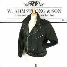 Men's VTG 70s Black GENUINE LEATHER Biker Motorcycle Belted Perfecto Jacket UK S