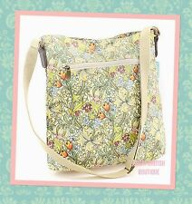 "RETRO CHIC VINTAGE FLORAL OILCLOTH MESSENGER BAG ""GOLDEN LILY"" BY WILLIAM MORRIS"