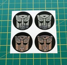 ALLOY WHEEL STICKERS 4 x 50mm Transformers Autobots chrome centre cap badge trim