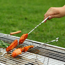 Hot 10X Stainless Steel BBQ Barbecue Cooking Kebab Flat Skewers Needle Fork WK A