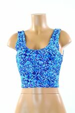 Blue Pebble Print Tank Scoop Neck Spandex Crop Top NWT Clubwear Rave Festival