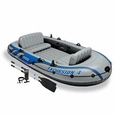 Inflatable Boat 4-Person Intex Excursion Dinghy Set Aluminum Oars High Air Pump