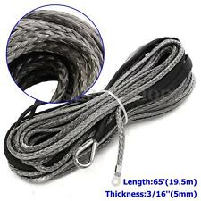 3/16'' x 65' GRAY Synthetic Winch Line Cable Rope 5500 LBs with Sheath (ATV UTV)