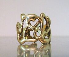 70's Brutalist Style Wide Gold Ring Solid 14K Yellow, Rose, or White Gold