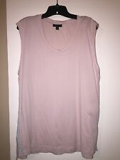 J.crew Women's XL Dusty Rose Pink Sleeveless Shirt Silver Side Stripes EUC