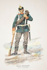 ARMEE ALLEMANDE SOLDAT D'INFANTERIE GRAVURE COULEURS MARIUS ROY 1890-R900