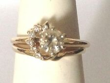14k Yellow Gold Diamond Solitaire Enhancer Ring wrap Jacket