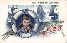 B98216 best wishes fro christmas flower ship bateaux embossed uk