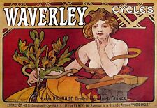 Art Deco Poster Waverley Cycles A Mucha  Bicycle  Print