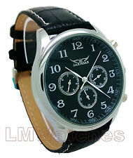 Jaragar Watch Mens Elegant Black Automatic 6 Hand Multifunction Boxed New UK