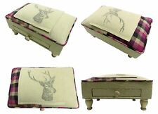 TARTAN CREAM PURPLE GREY STAGS HEAD PATCH FOOTSTOOL WITH DRAWER H25XW40XD28CM
