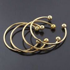Charms Brass Gold Bracelet Bangle Adjustable Size Screw Bead G11