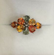 14k Solid White Gold Cluster Flower Ring with Natural Multi Color Sapphire 2.08