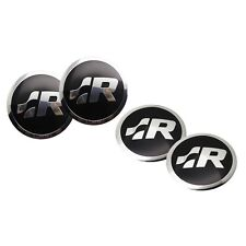 4x 56.5mm Chrome R Car Steering Wheel Center Hub Cap Stickers for VW Golf CC etc