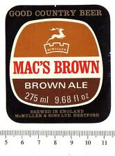 UK Beer Label - McMullen Brewery - Hertfordshire - Mac's Brown Ale