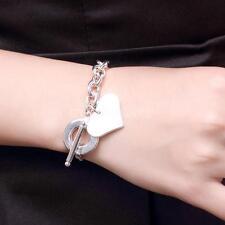 Bracciali Braccialetto Ragazze Elegante 925 Argento Cuore Ciondolo Moda Bracelet