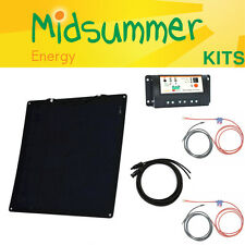 50W Black Semi-Flexible Dual Battery Solar Kit - narrowboats, VW campers, yachts