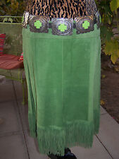 Western Double Fringe Suede Leather Skirt~XL~Lime Green~JUNGAL~Anthropologie~US