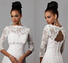 New Lace 3/4 Sleeve Wedding Bridal Jacket Backless Shrug/Wrap White/Ivory Stock