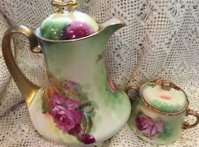 ANTIQUE LIMOGES COFFEE CHOCOLATE POT SUGAR GOLD ROSES CORONET RANCON