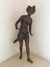"12.75"" Original Antique ART NOUVEAU Spelter FIGURINE Maiden Girl, Lady, Nude"